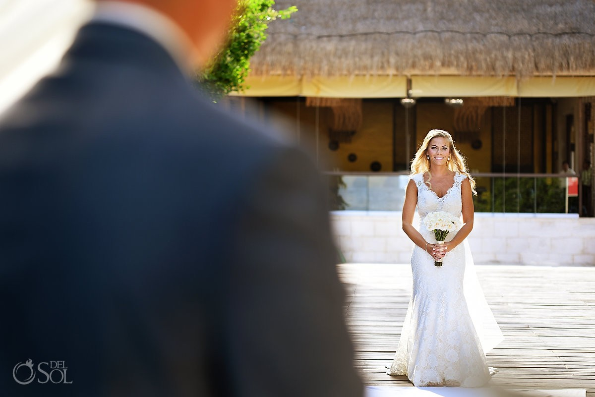 First look bride and groom at Destination Wedding Riviera Maya