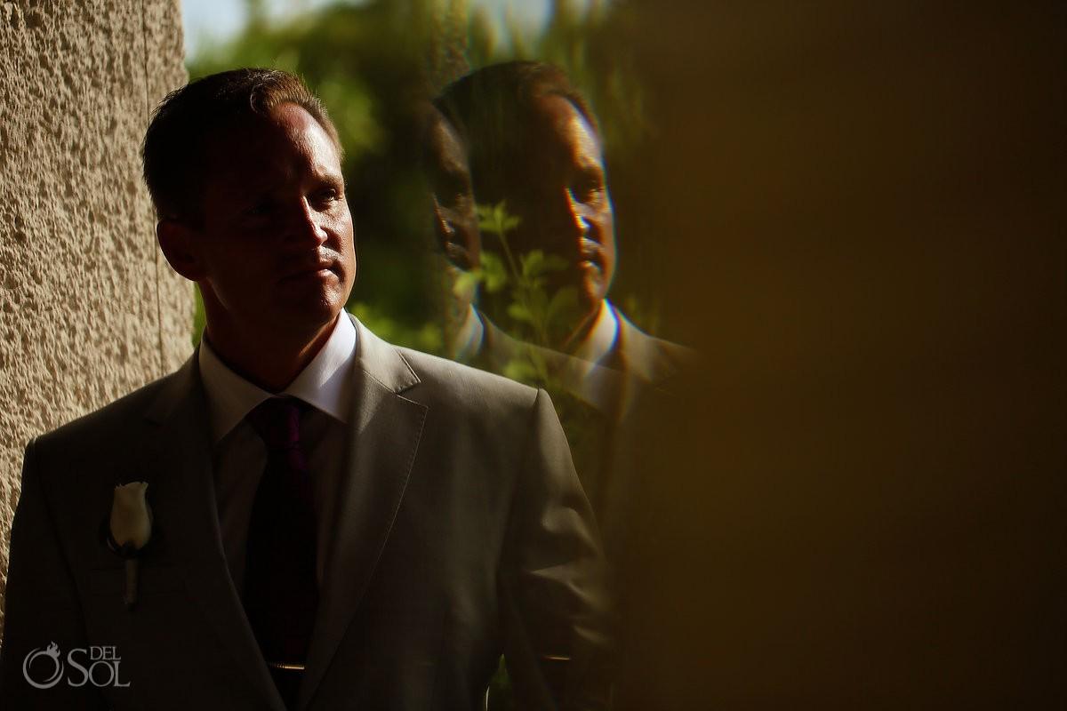 Creative groom portrait reflection Destination Wedding Paradisus La Perla, Playa del Carmen, Mexico