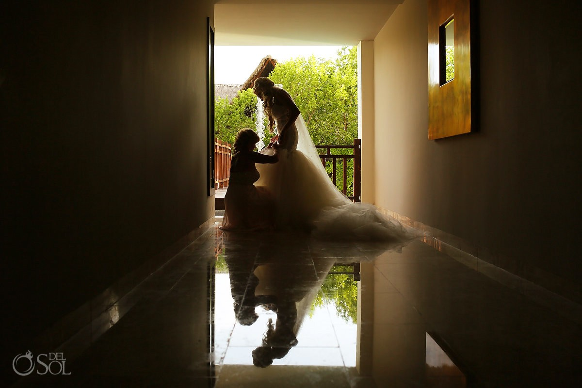 candid bride portrait reflection Destination Wedding Paradisus La Perla, Playa del Carmen, Mexico