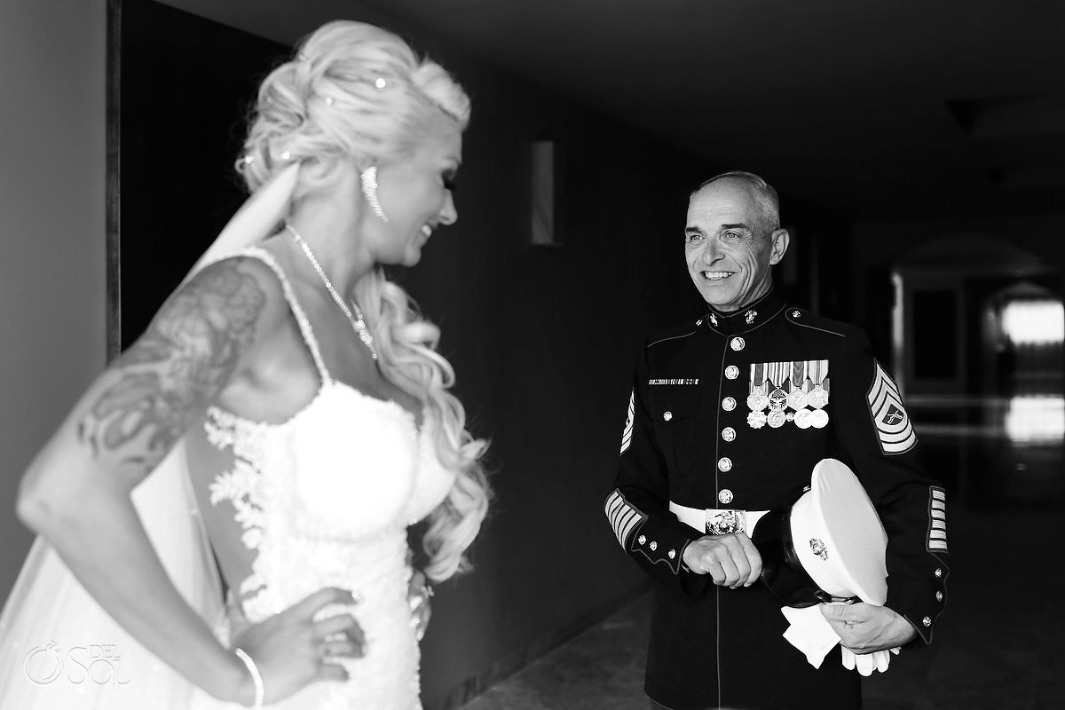 bride and father wearing Marine Dress Blue uniform Paradisus La Perla, Playa del Carmen, Mexico