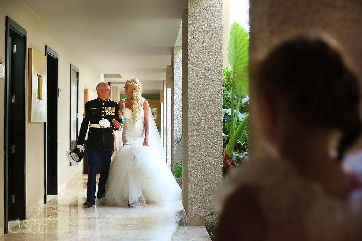 bride and father wearing Marine Dress Blue uniform Paradisus La Perla, Playa del Carmen, Mexico