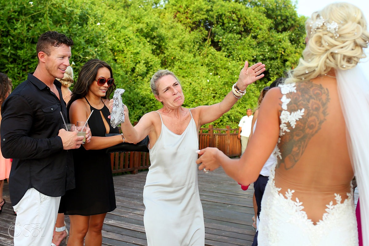 emotional wedding guest celebration hug Destination Wedding ParadisusGabi Bridge, Playa del Carmen, Mexico