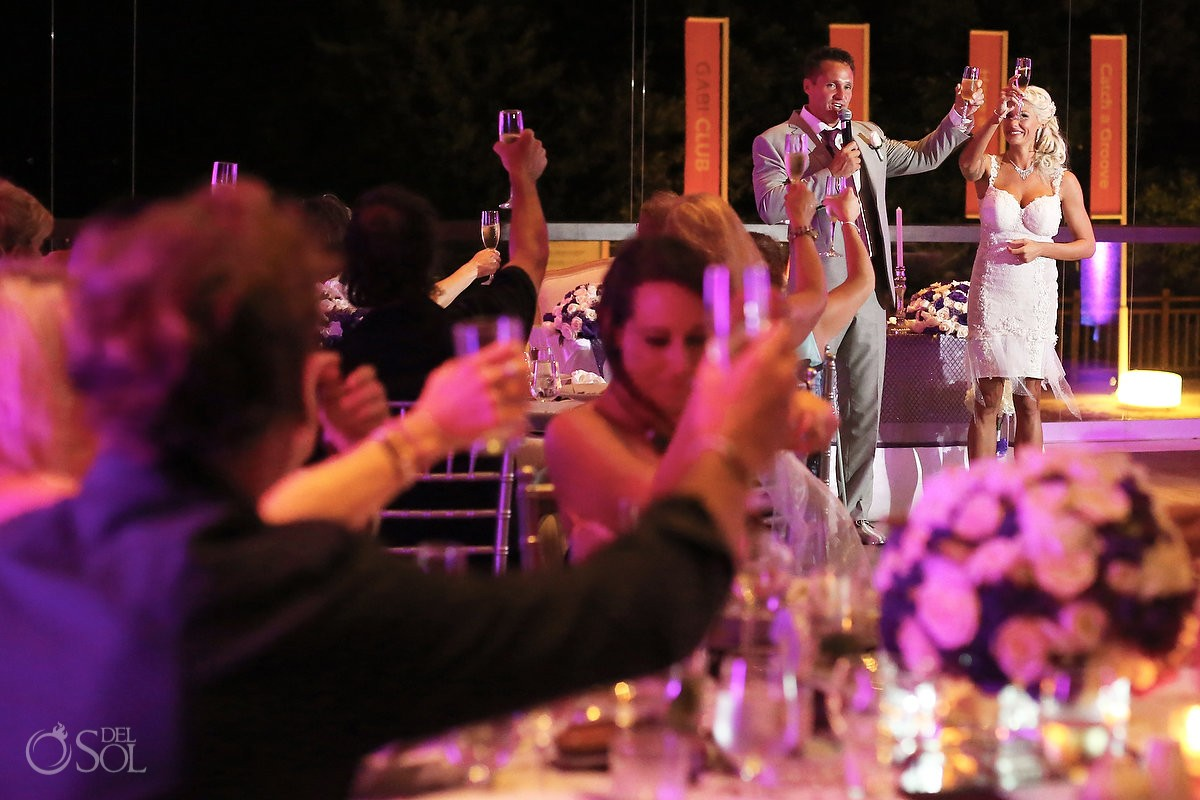 speeches toasts destination wedding reception Gabi Club Paradisus La Perla, Playa del Carmen, Mexico