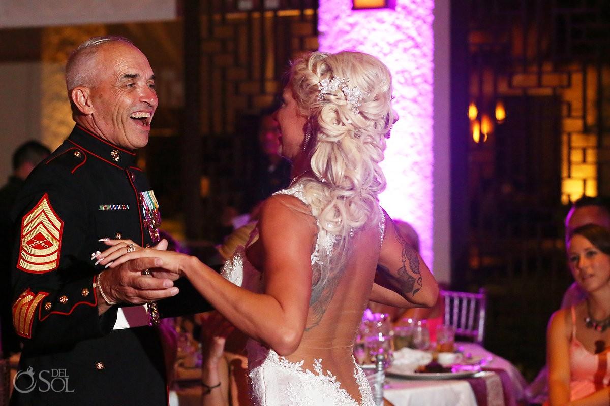 father daughter dance destination wedding reception Gabi Club Paradisus La Perla, Playa del Carmen, Mexico