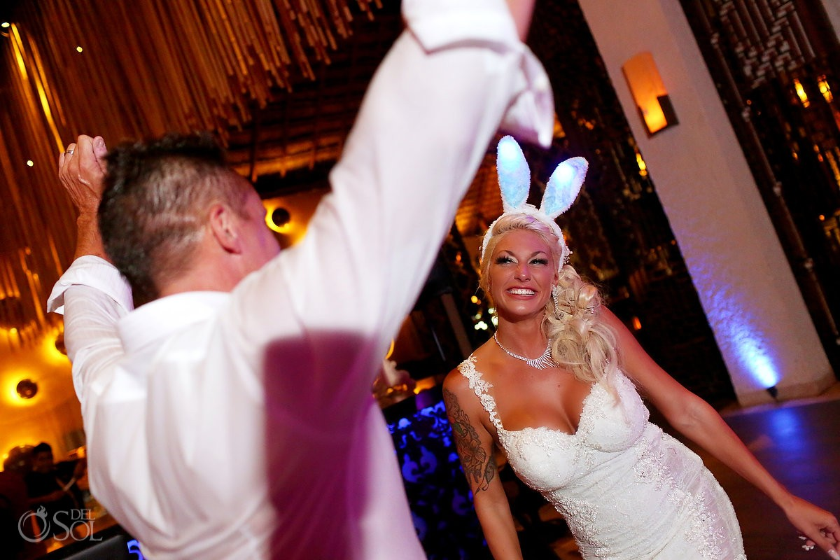 bride with bunny ears destination wedding reception Gabi Club Paradisus La Perla, Playa del Carmen, Mexico