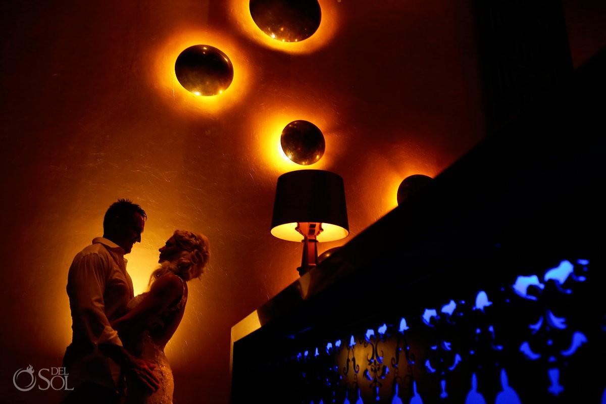 creative destination wedding reception portrait Gabi Club Paradisus La Perla, Playa del Carmen, Mexico