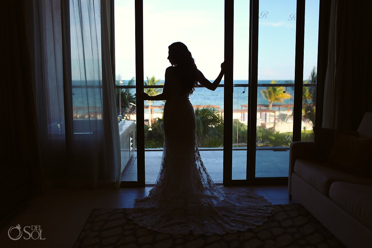 sexy bride silhouette getting ready, destination wedding Royalton Riviera Cancun, Mexico