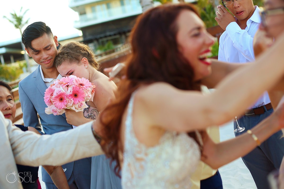 lovely hugs after wedding ceremony, Royalton Riviera Cancun, Mexico