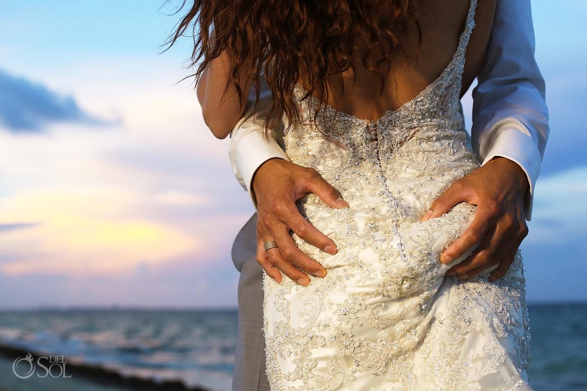 Sexy detail bride groom sunset portrait session, destination wedding Royalton Riviera Cancun, Mexico