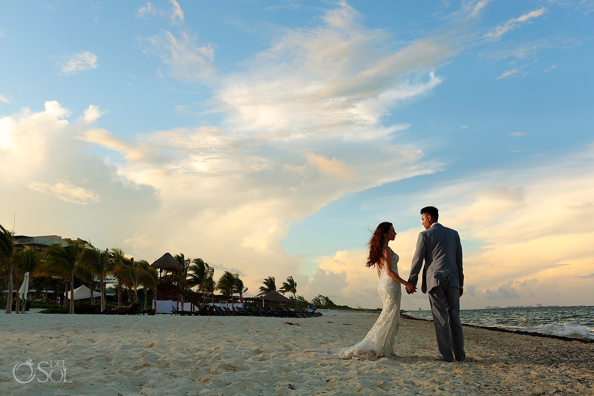 Beach sunset bride groom portrait, destination wedding Royalton Riviera Cancun, Mexico