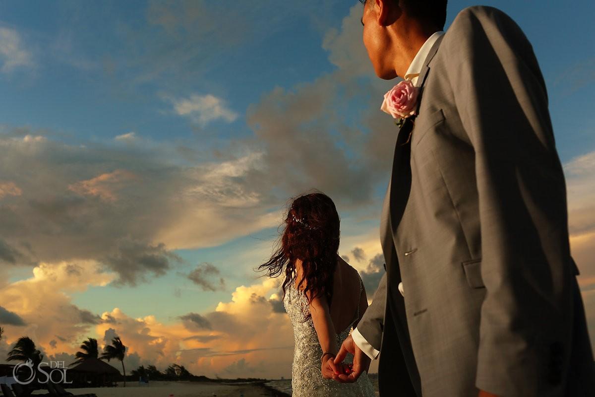 amazing sky sunset beach portrait, destination wedding Royalton Riviera Cancun, Mexico