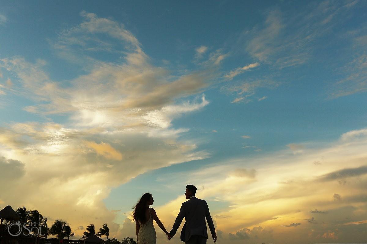 Beach portrait silhouette ideas, destination wedding Royalton Riviera Cancun, Mexico