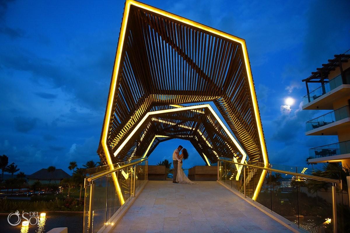 Artistic destination wedding night portrait Royalton Riviera Cancun Chapel bride groom