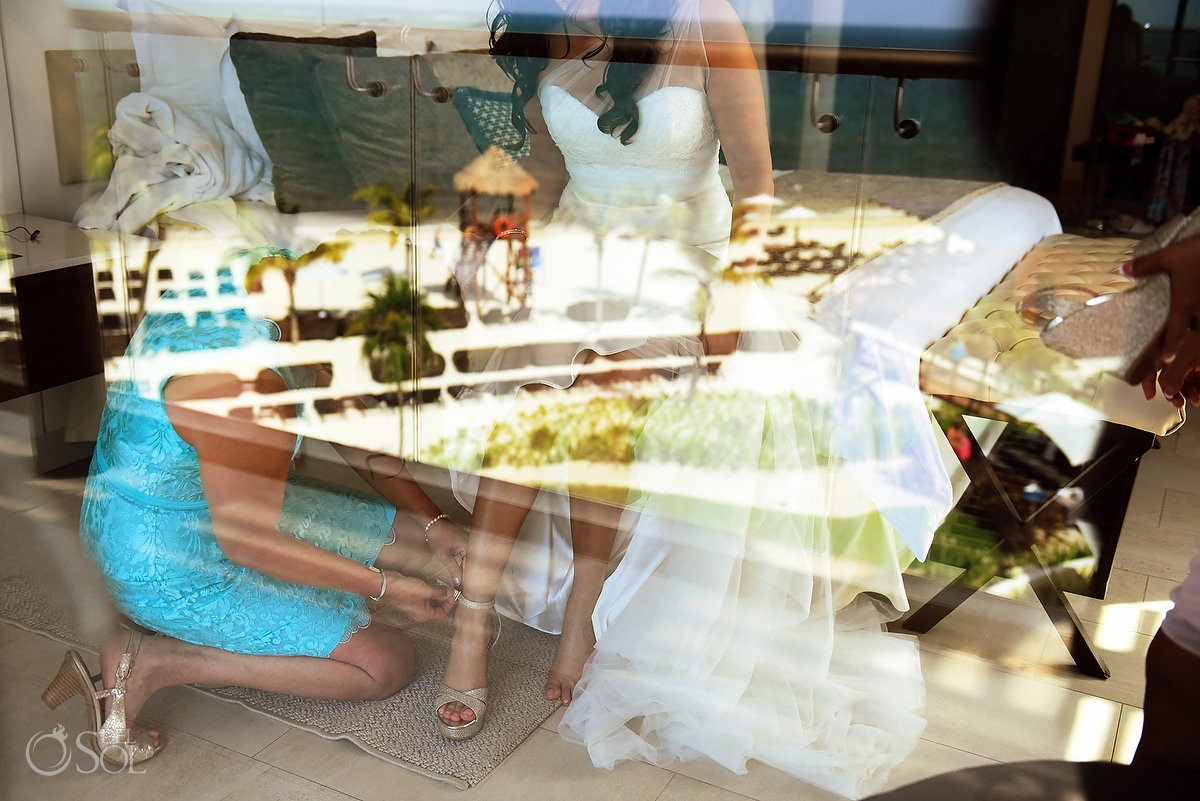 Beautiful bride reflection getting ready, destination Wedding Royalton Riviera Cancun, Mexico