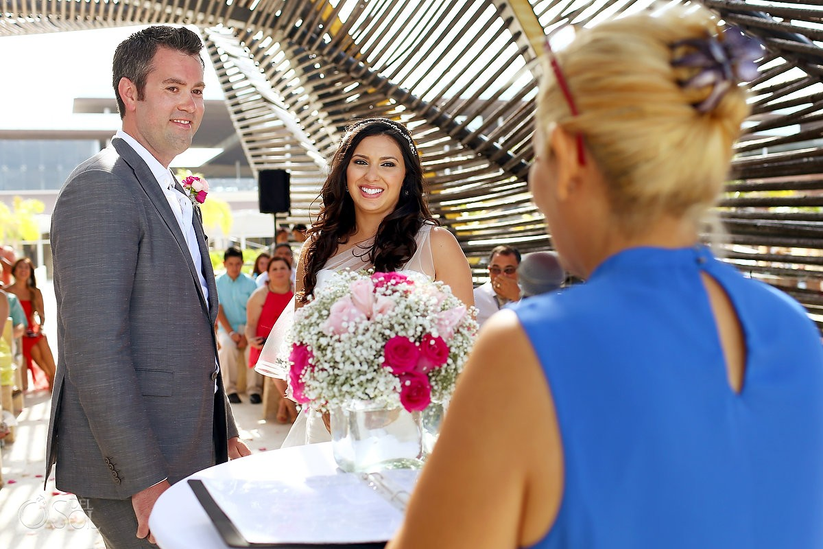 Bride and groom chapel wedding ceremony, Destination Wedding Royalton Riviera Cancun, Mexico