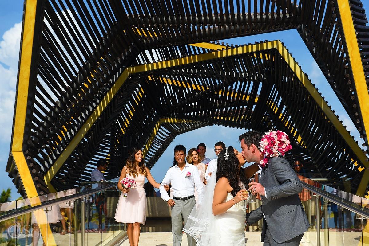 Just married bride and groom portrait, wedding chapel Royalton Riviera Cancun, Mexico