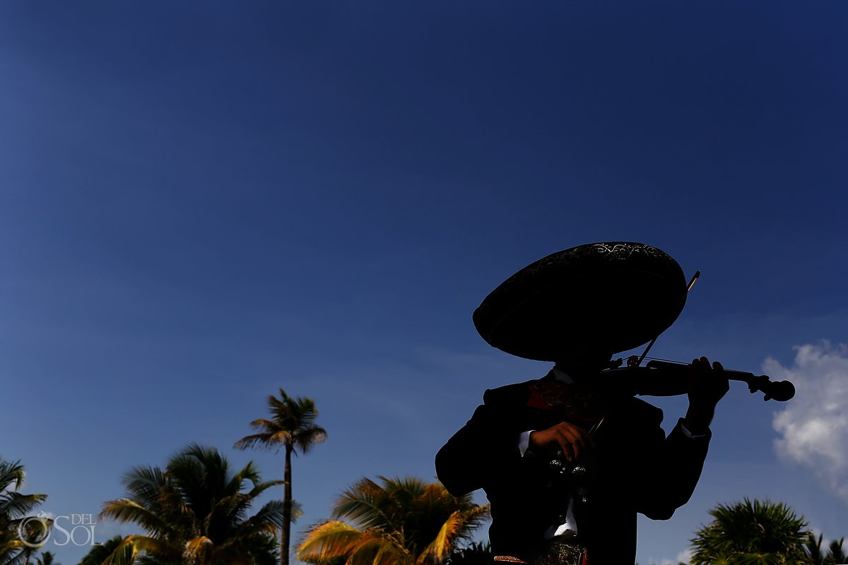 Artistic Mariachi silhouette portrait, beach wedding Royalton Riviera Cancun, Mexico