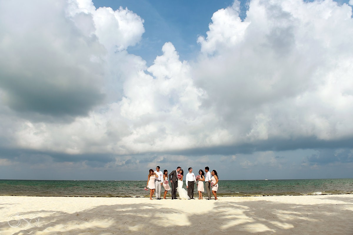 Bridal party cool beach portrait idea destination wedding Royalton Riviera Cancun, Mexico