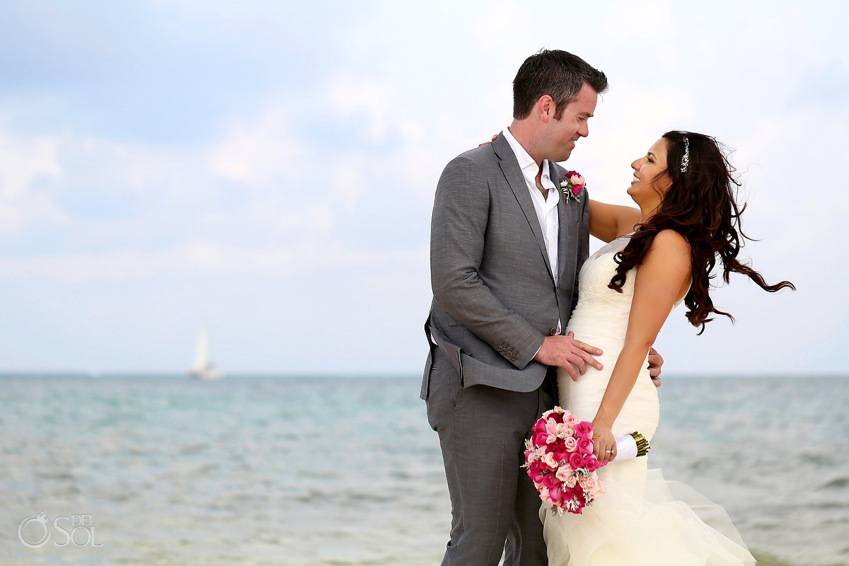 Bride groom beautiful beach destination wedding portrait, Royalton Riviera Cancun, Mexico
