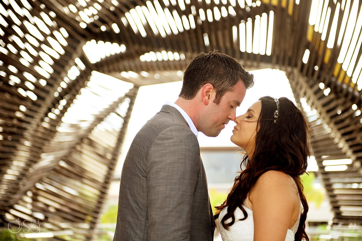 Royalton Riviera Cancun chapel sunset wedding portrait bride groom Mexico