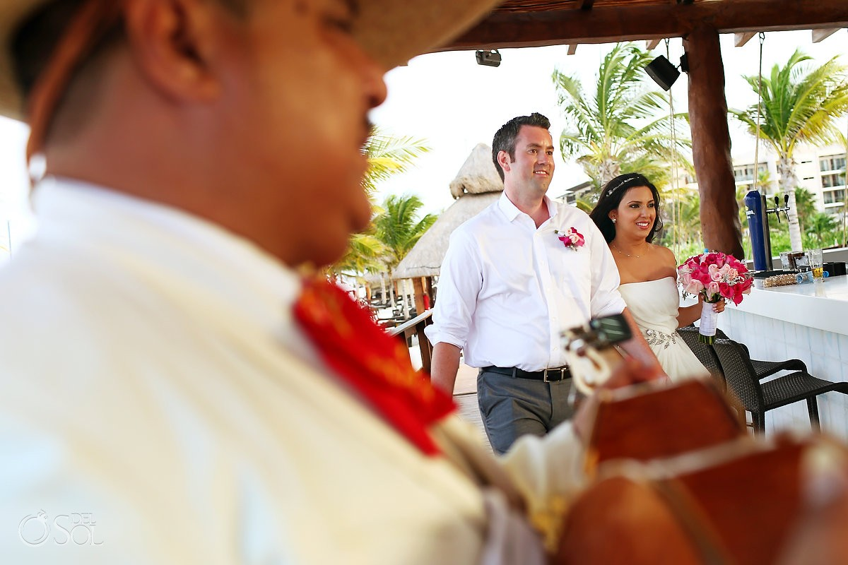 Destination wedding reception bride groom cool entrance mariachi playing, Royalton Riviera Cancun, Mexico