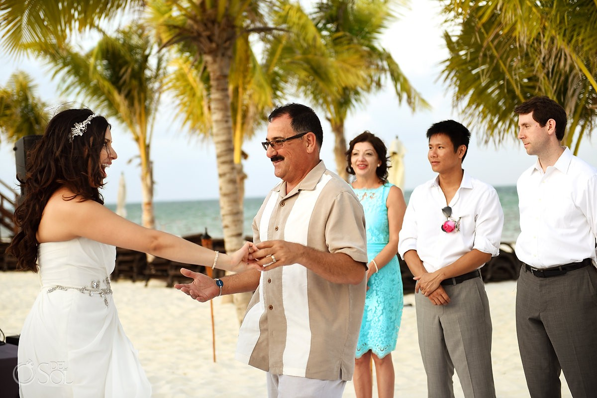 Father daughter first dance destination wedding reception Royalton Riviera Cancun beach bar, Mexico