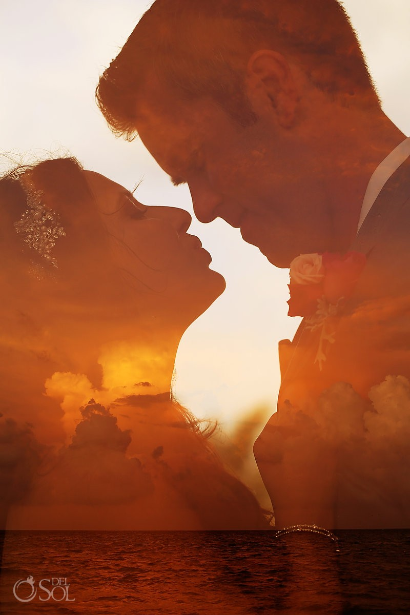 double exposure sunset wedding portrait creative bride groom, destination Wedding Royalton Riviera Cancun, Mexico