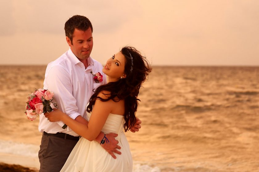 sunset beach love destination wedding portrait, Royalton Riviera Cancun, Mexico