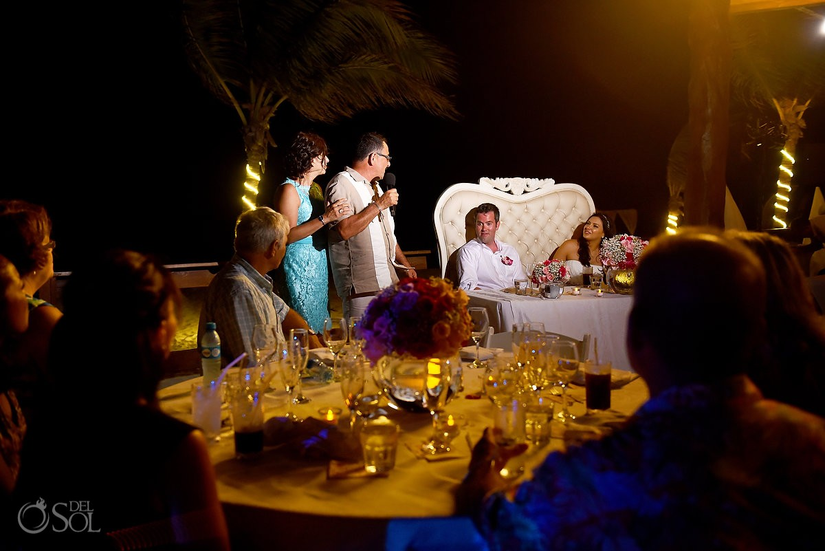 Destination wedding reception emotive speeches Royalton Riviera Cancun beach bar, Mexico