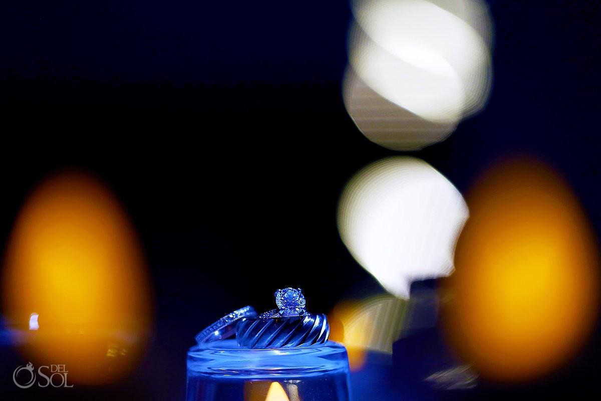 Wedding rings lighting ideas macro photography, destination Wedding Royalton Riviera Cancun, Mexico