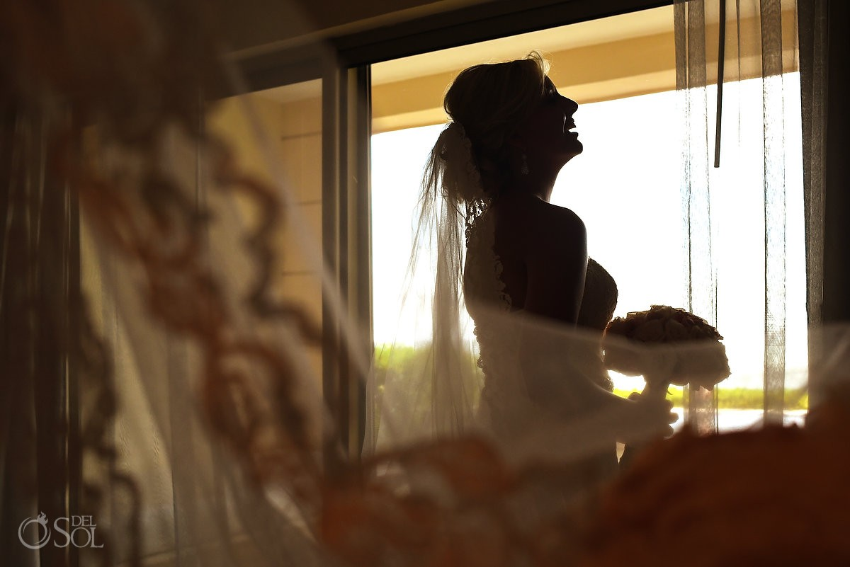 Beautiful bride silhouette, Destination Wedding at Secrets silversands