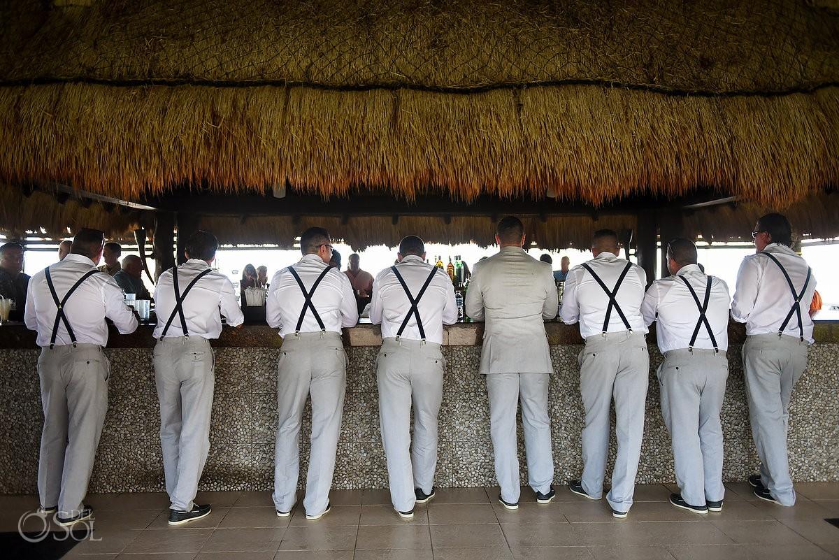 Creative bridal party groomsman photo ideas Destination Wedding Secrets Silversands Riviera Cancun, Mexico.