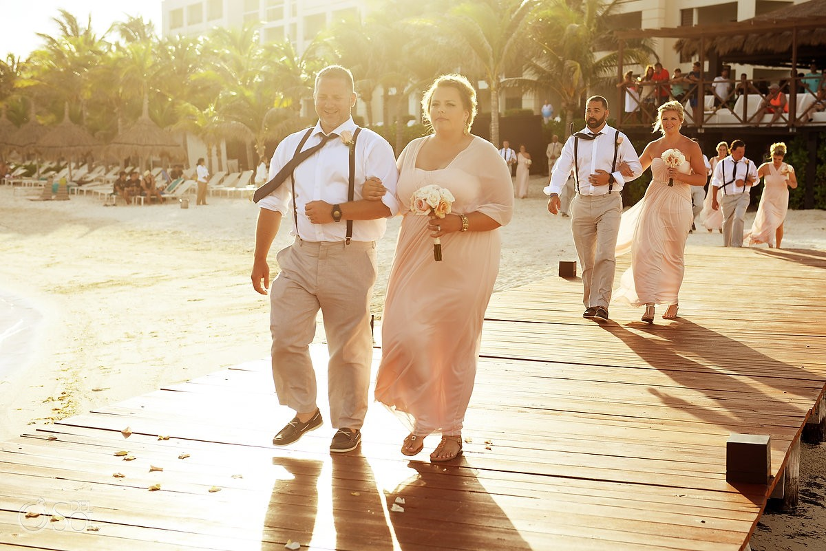beautiful light processional, bridal party arriving Destination Wedding Secrets Silversands gazebo Riviera Cancun, Mexico.