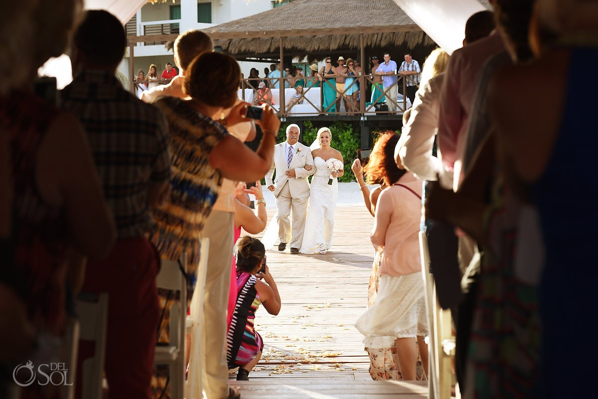 Bride entrance Destination Wedding Secrets Silversands gazebo Riviera Cancun, Mexico