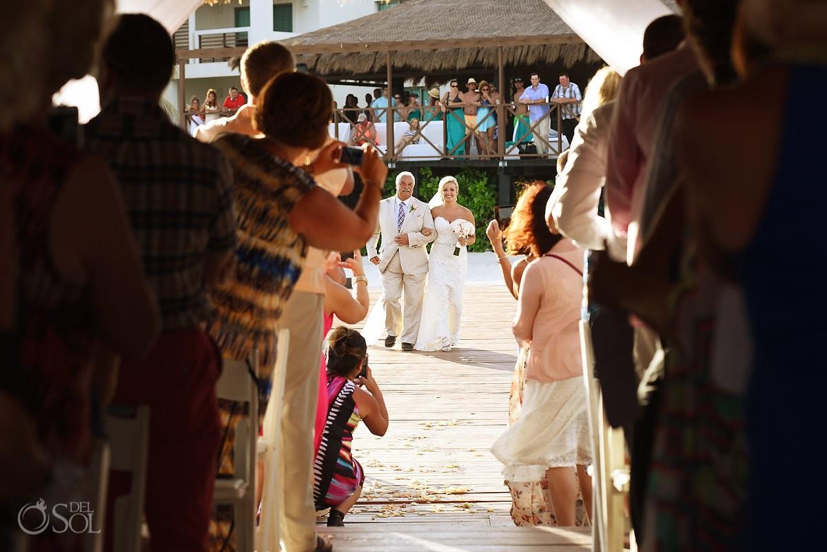 Bride entrance Destination Wedding Secrets Silversands gazebo Riviera Cancun, Mexico