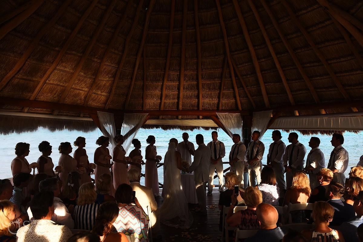silhouette beach gazebo wedding ceremony, Destination Wedding Secrets Silversands Riviera Cancun, Mexico