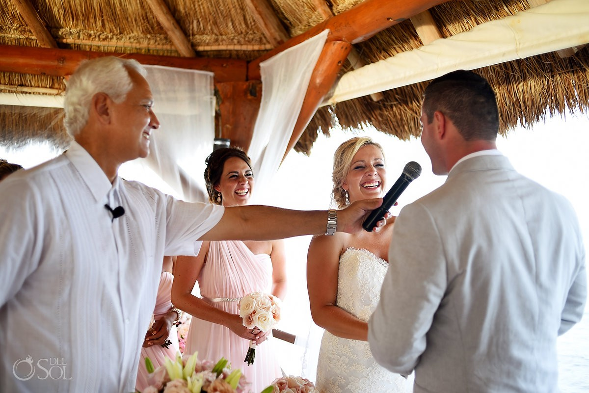 Beautiful vows wedding ceremony, Destination Wedding Secrets Silversands gazebo Riviera Cancun, Mexico