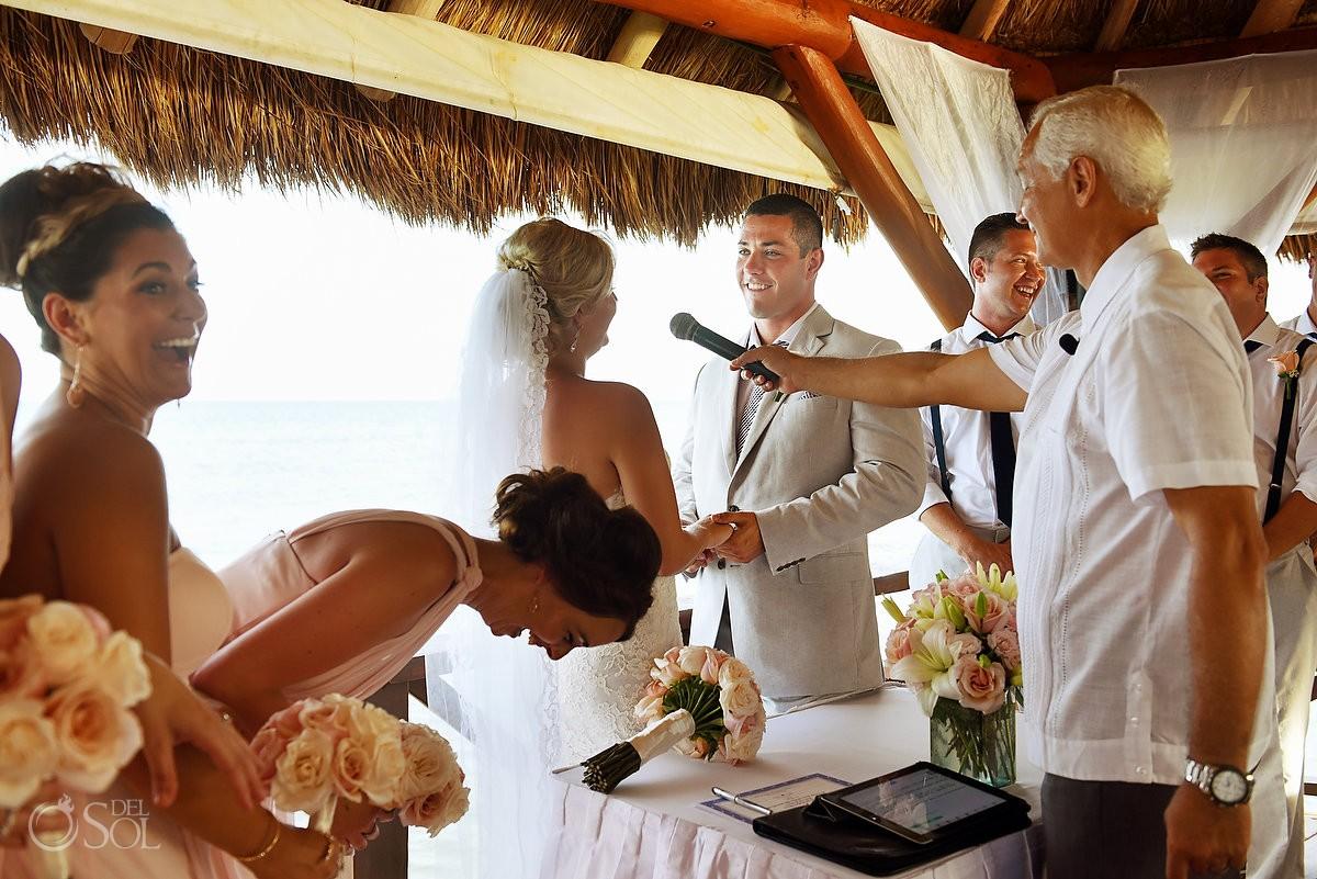 fun vows in wedding ceremony, Destination Wedding at Secrets Silversands Riviera Cancun, Mexico