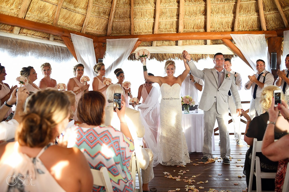 Celebrating just get married, Ceremony moments, Destination Wedding at Secrets Silversands Riviera Cancun, Mexico