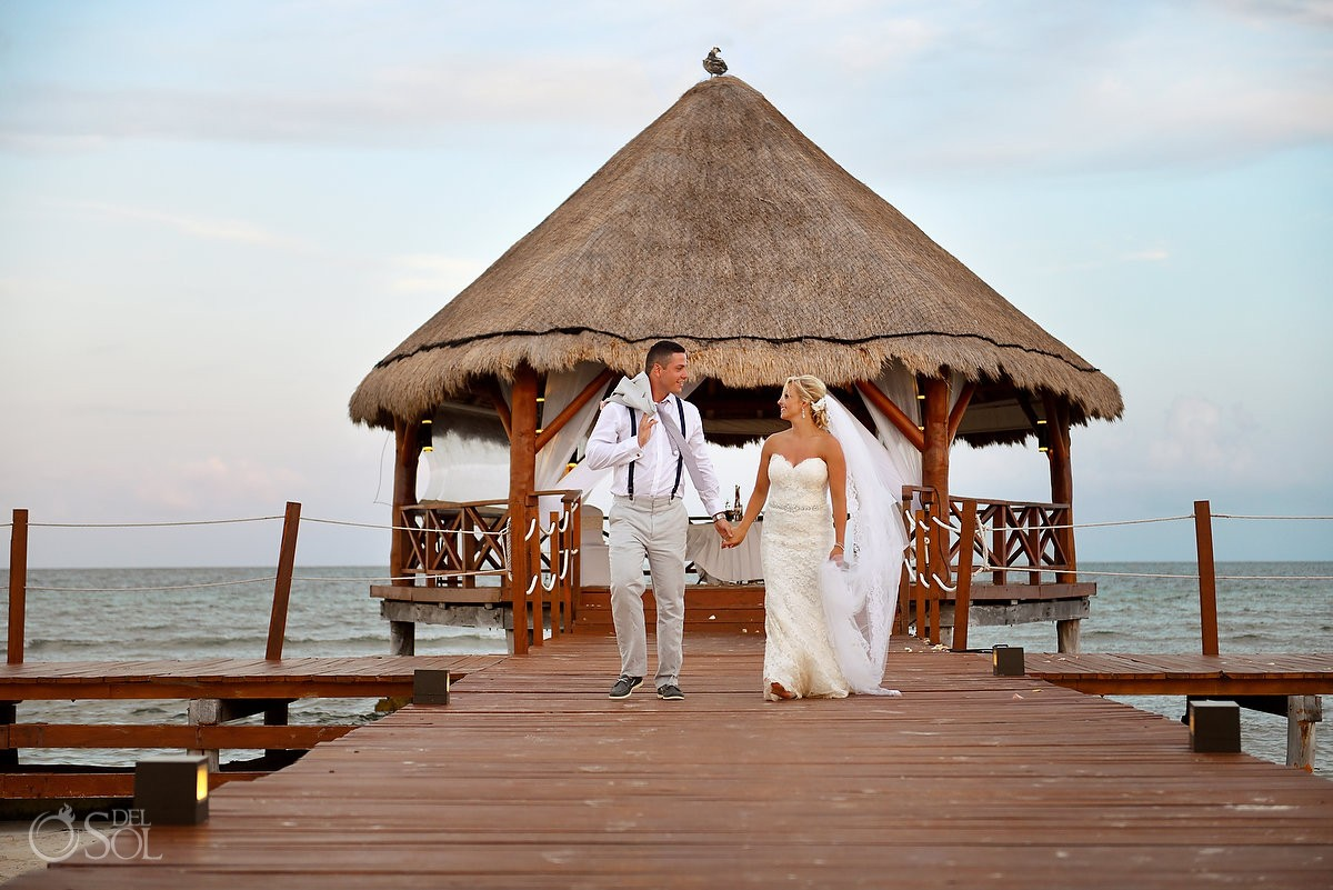 destination wedding portrait, beautiful Carribean ocean gazebo Secrets Silversands Riviera Cancun, Mexico