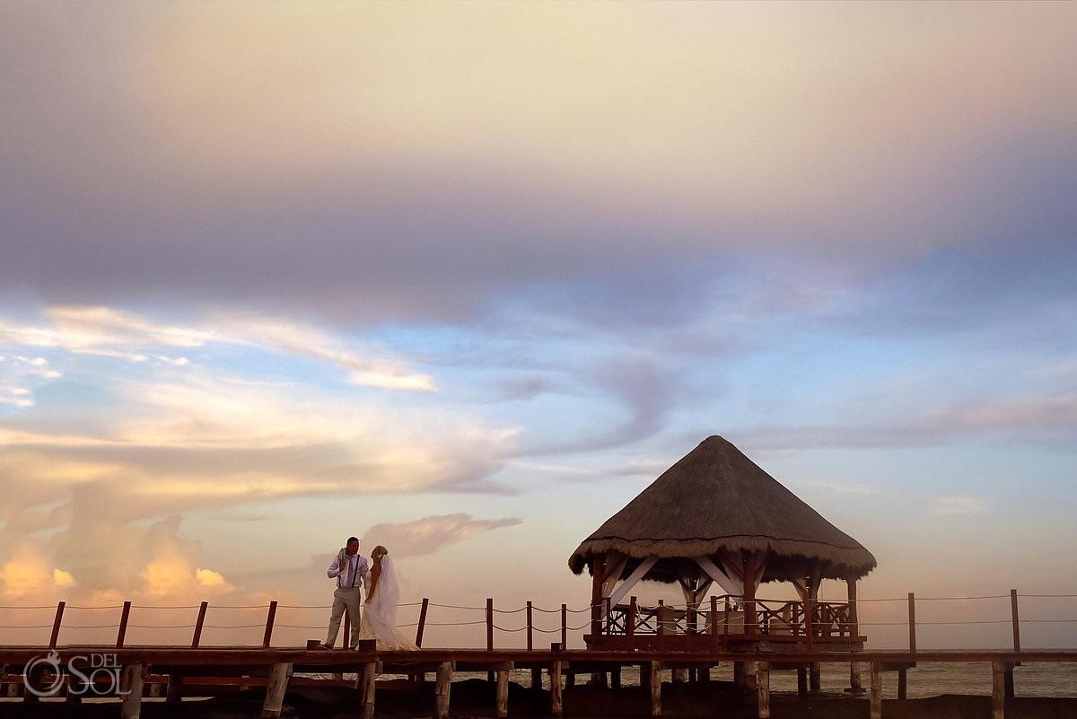 Amazing beach sunset portrait, wedding ideas #travelforlove, Destination Wedding Secrets Silversands gazebo Riviera Cancun, Mexico