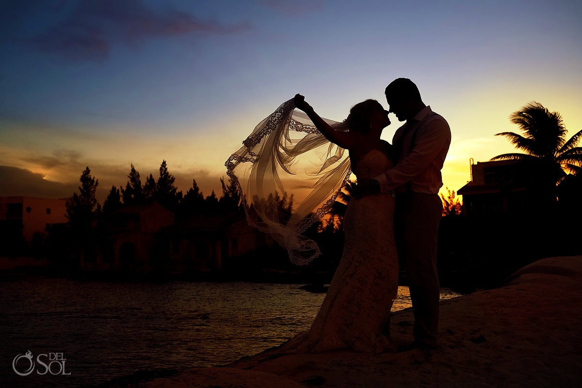 Artistic sunset silhouette destination wedding portrait Secrets Silversands Riviera Cancun, Mexico