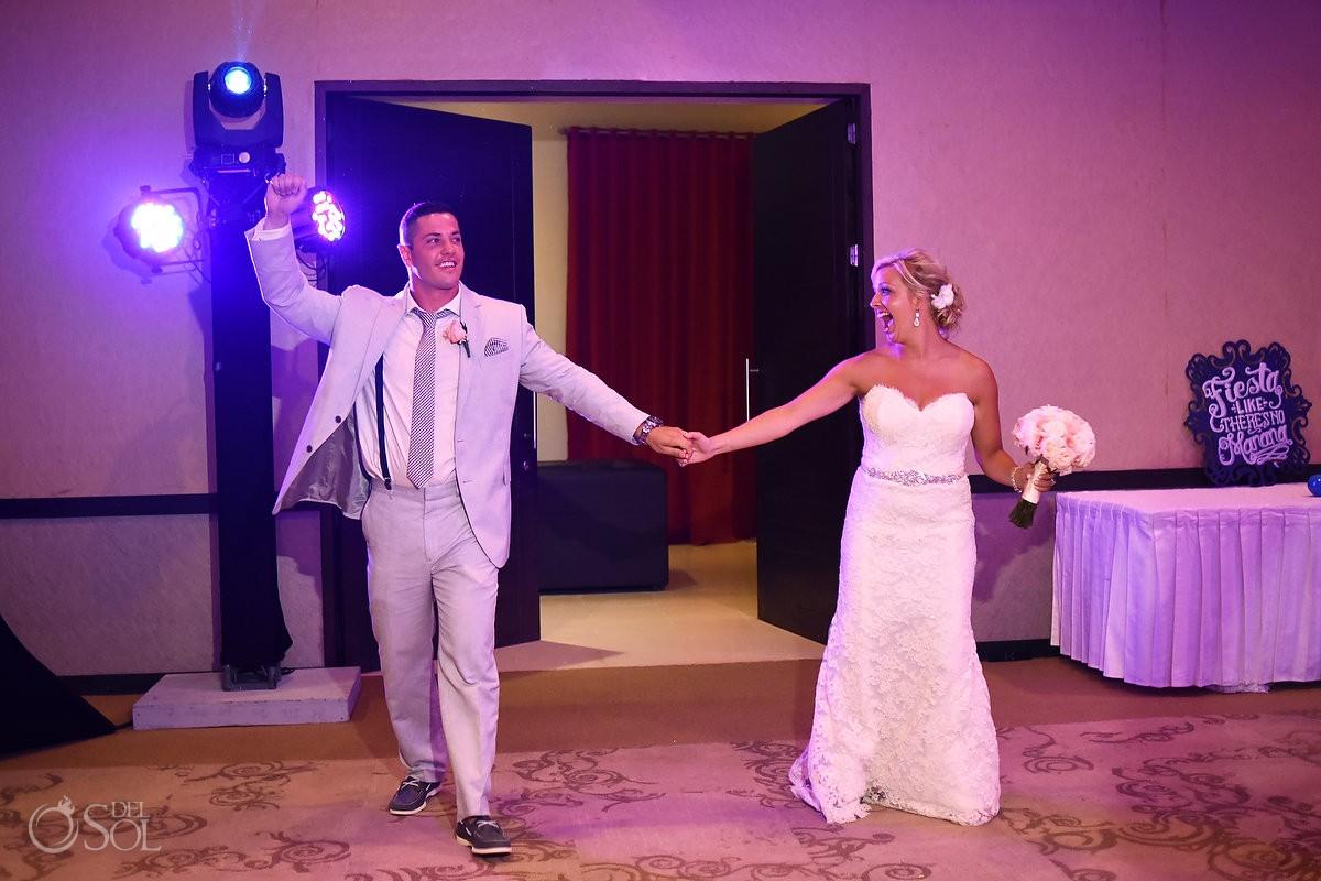 Bride and groom destination wedding reception entrance ballroom Secrets Silversands Riviera Cancun, Mexico