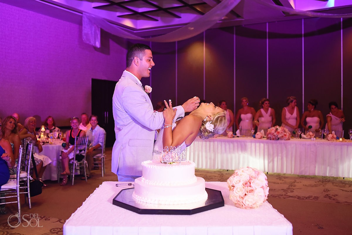 fun moment cake cutting, Destination Wedding reception ballroom Secrets Silversands Riviera Cancun, Mexico