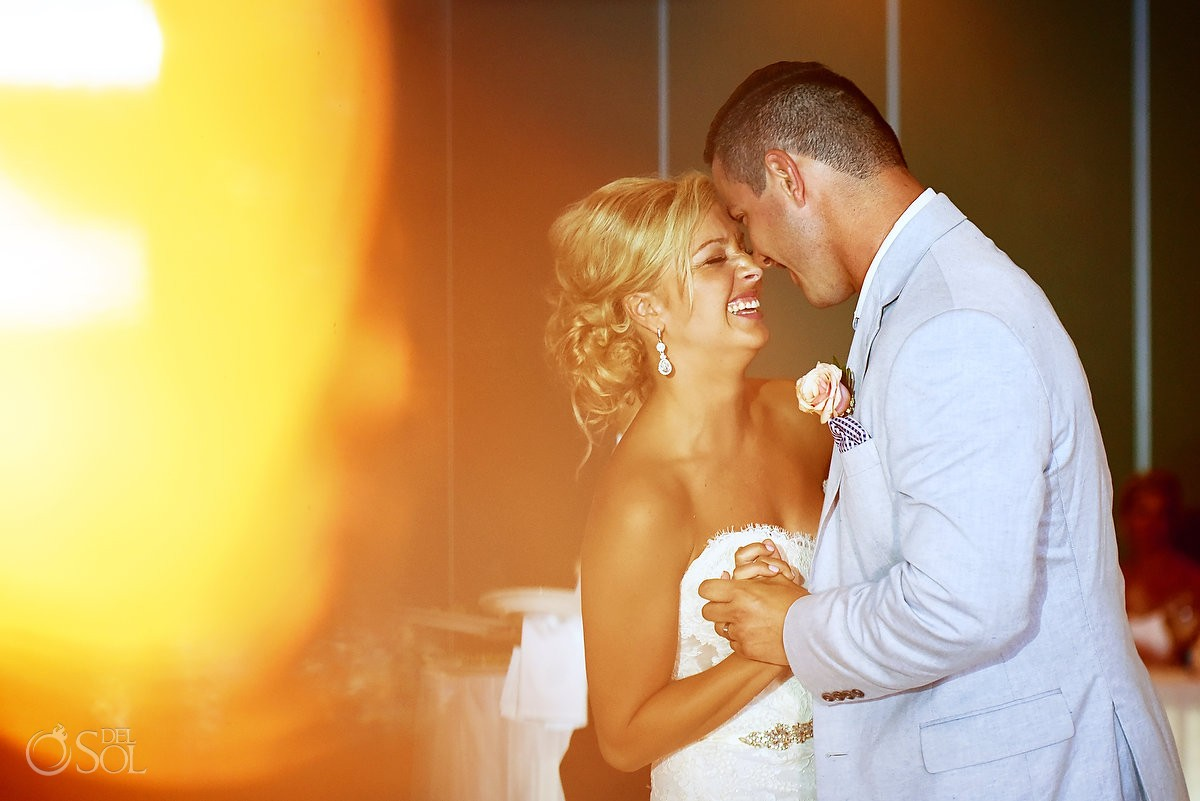 lovely first dance portrait at wedding reception, Destination Wedding at Secrets Silversands Riviera Cancun, Mexico
