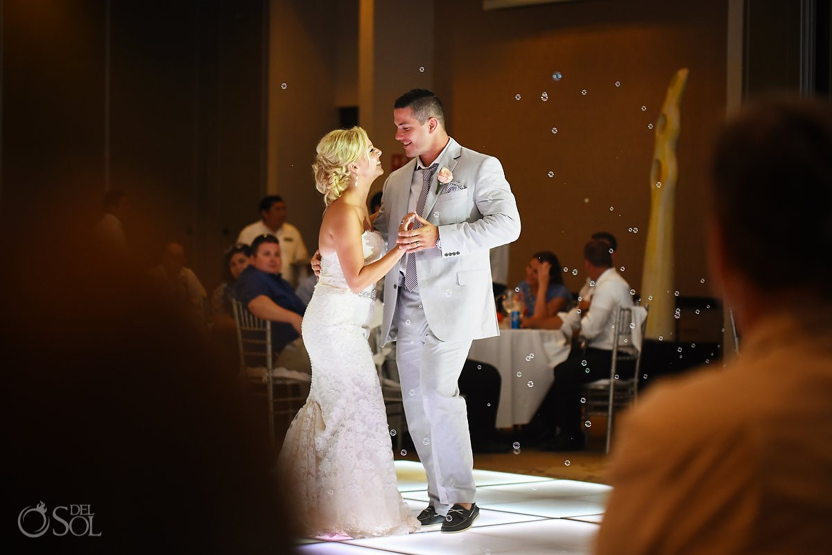First Dance Bride and groom bubbles love, Destination Wedding at Secrets Silversands Riviera Cancun, Mexico