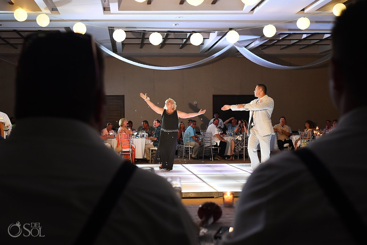 Mother grooms first dance Destination Wedding reception Secrets Silversands Riviera Cancun, Mexico