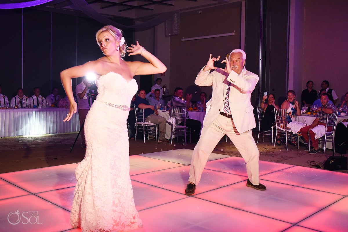Funny Father daughter first dance idea Destination Wedding reception Secrets Silversands ballroom Riviera Cancun, Mexico