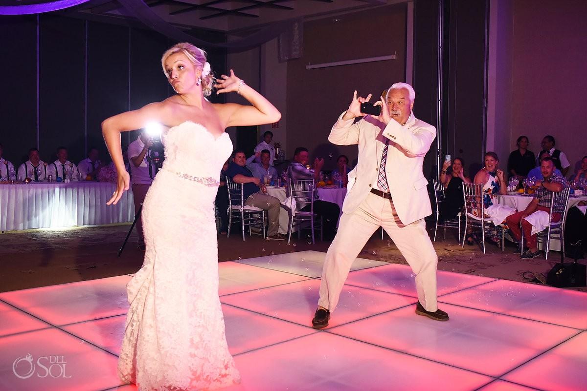 Funny Father daughter first dance idea Destination Wedding reception Secrets Silversands ballroom Riviera Cancun, Mexico