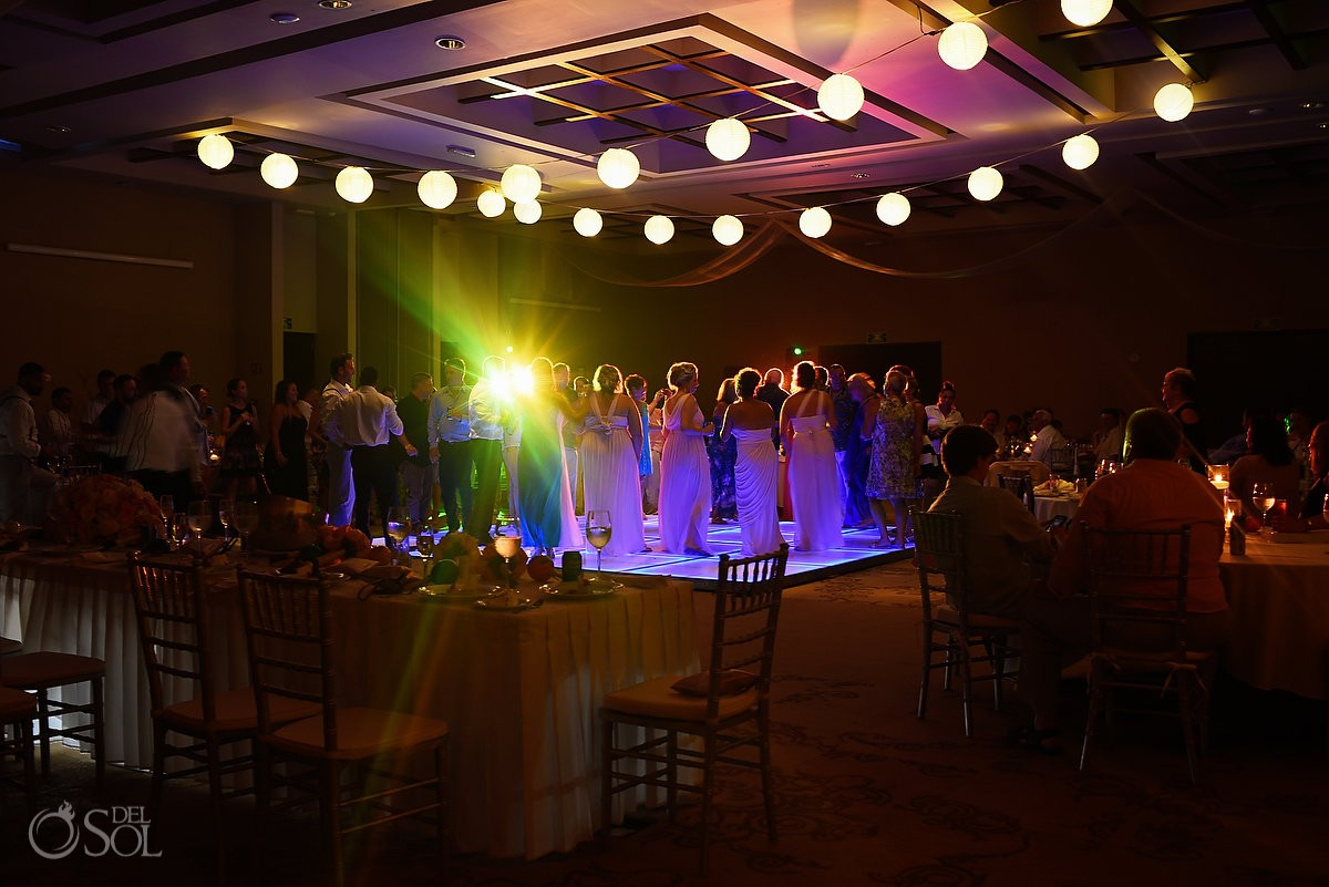 Wedding reception lights ideas, Destination Wedding reception Secrets Silversands ballroom Riviera Cancun, Mexico